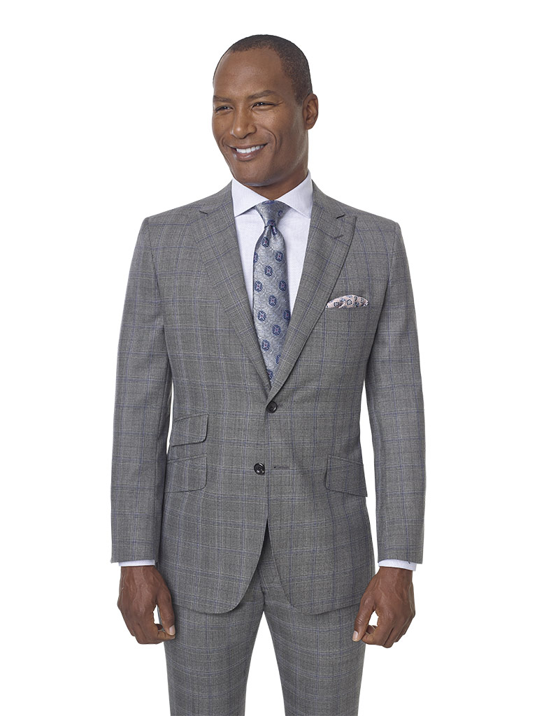 2020 Lookbook                                                                                                                                                                                                                                             , Super 100's Wool - Silver Gray Plaid Men's Suit