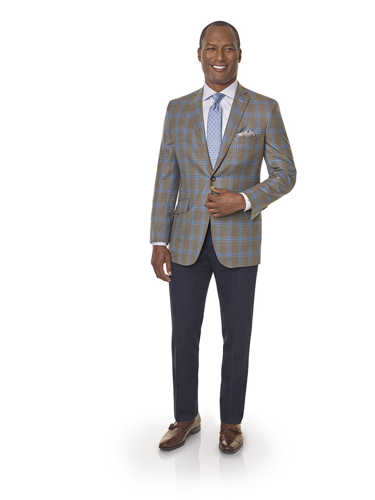 2020 Lookbook                                                                                                                                                                                                                                             , Super 100's Wool - Light Brown Windowpane Men's Sport Coat