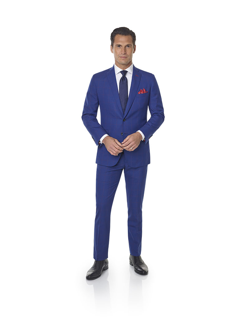 2020 Lookbook                                                                                                                                                                                                                                             , Super 100's Wool - Navy & Red Windowpane Men's Suit