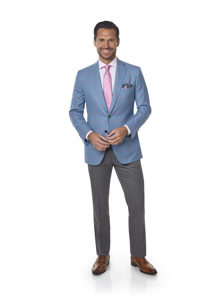2020 Lookbook                                                                                                                                                                                                                                             , Super 100's Wool - Sky Blue Windowpane Men's Sport Coat