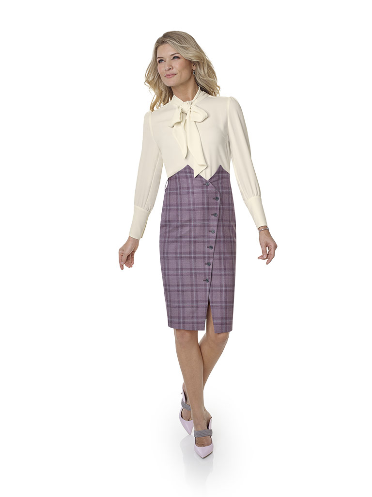 2020 Lookbook                                                                                                                                                                                                                                             , Super 120's Wool - Elderberry Windowpane Ladies Skirt