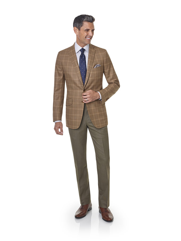 2020 Lookbook                                                                                                                                                                                                                                             , Super 120's Wool - Ginger Windowpane Men's Sport Coat