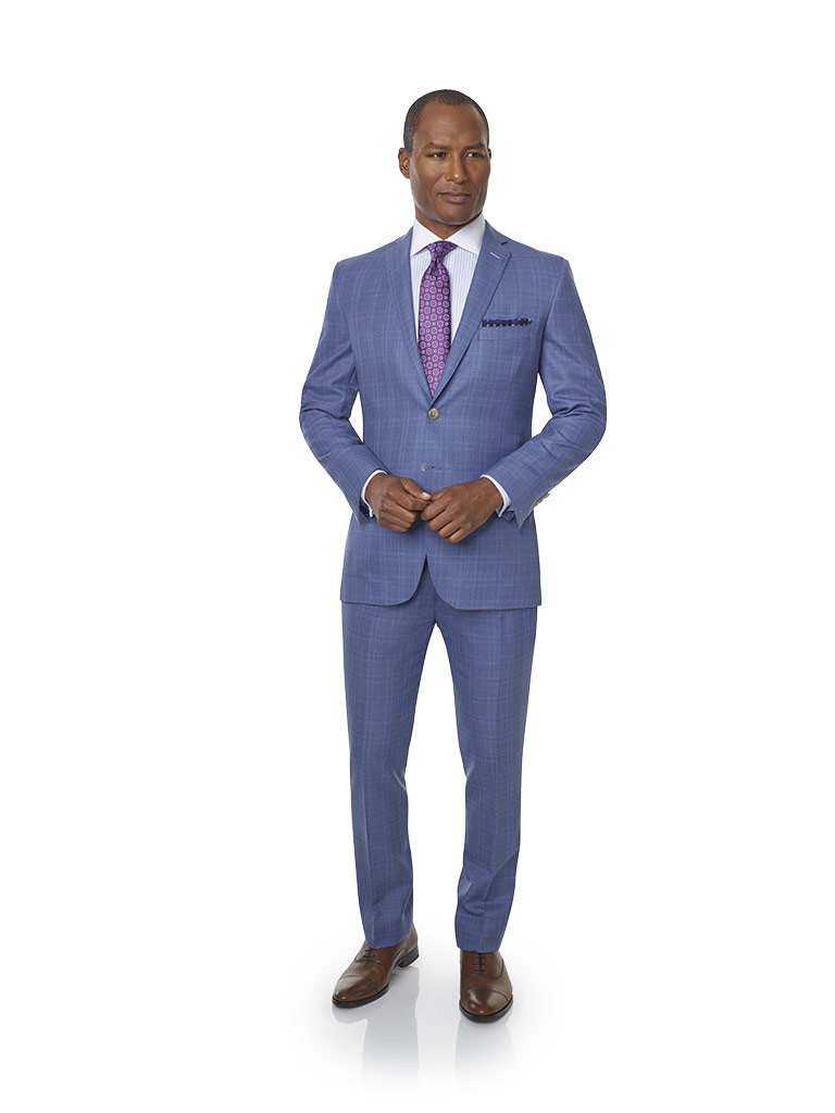 2020 Lookbook                                                                                                                                                                                                                                             , Super 120's Wool - Sky Blue Plaid Men's Suit