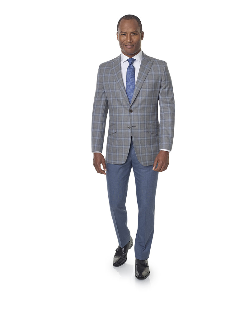 2020 Lookbook                                                                                                                                                                                                                                             , Super 120's Wool - Silver & Blue Windowpane Men's Sport Coat
