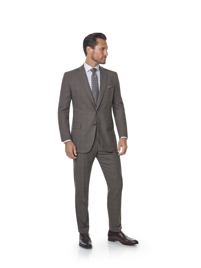 2020 Lookbook                                                                                                                                                                                                                                             , Super 120's Wool - Taupe Brown Windowpane  Men's Suit