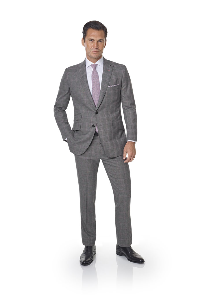 2020 Lookbook                                                                                                                                                                                                                                             , Super 120's Wool - Dark Gray & Pink Windowpane  Men's Suit