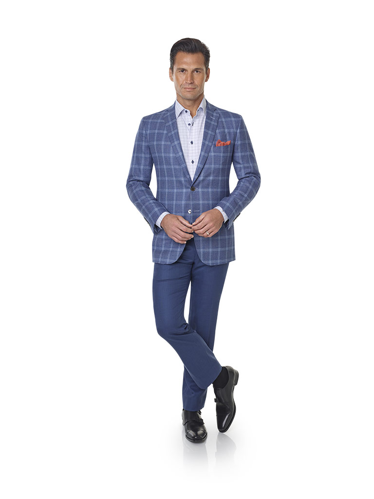 2020 Lookbook                                                                                                                                                                                                                                             , Super 120's Wool - Chambray Blue Windowpane Men's Sport Coat