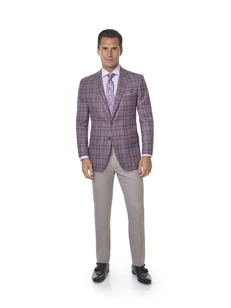 2020 Lookbook                                                                                                                                                                                                                                             , Super 120's Wool - Elderberry Windowpane Men's Sport Coat