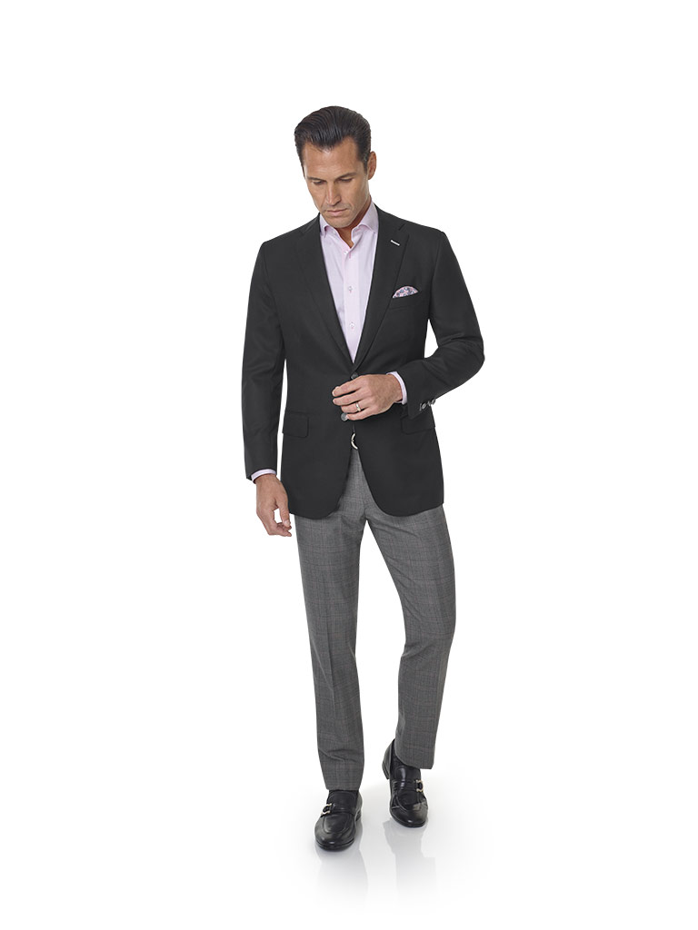 2020 Lookbook                                                                                                                                                                                                                                             , Super 120's Wool - Black Diamond Weave Men's Blazer