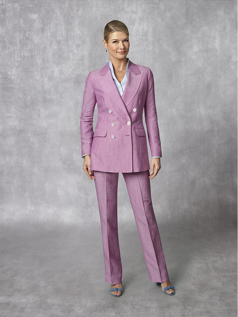 2020 Lookbook                                                                                                                                                                                                                                             , Holland & Sherry - South Pacific Linen Blend -Fuchsia Plain Suit