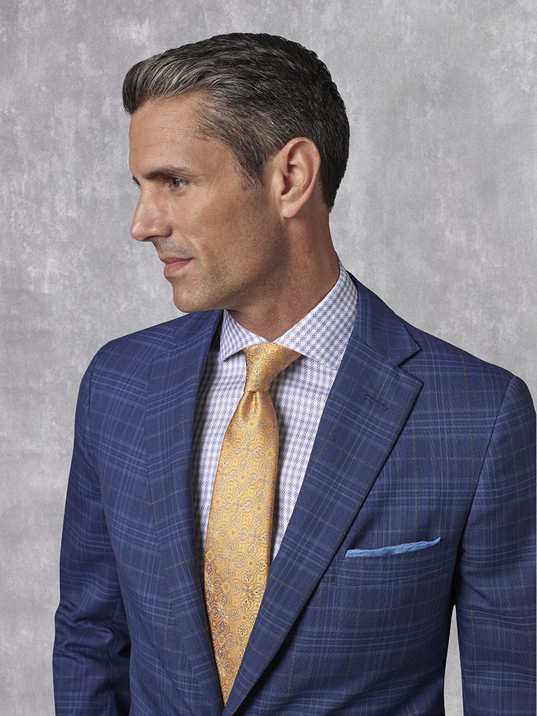 2020 Lookbook                                                                                                                                                                                                                                             , Super 130's Worsted Wool - French Blue Windowpane