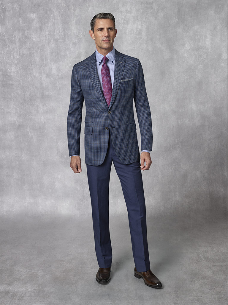 2020 Lookbook                                                                                                                                                                                                                                             , Holland & Sherry -Crystal Springs - Navy Windowpane Sport Coat