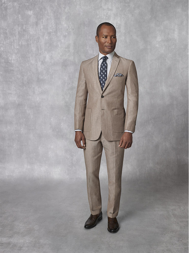 2020 Lookbook                                                                                                                                                                                                                                             , Holland & Sherry - South Pacific Linen Blend - Coffee Plain Suit
