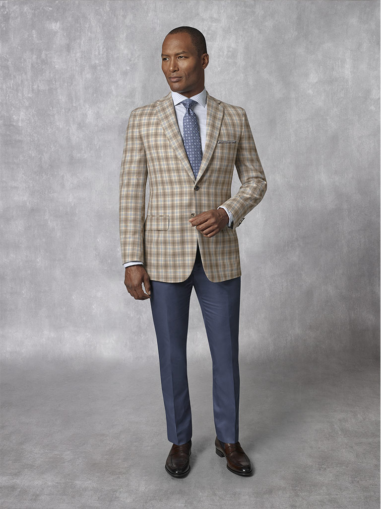 2020 Lookbook                                                                                                                                                                                                                                             , Holland & Sherry -Summer Ascot - Sand Plaid Sport Coat