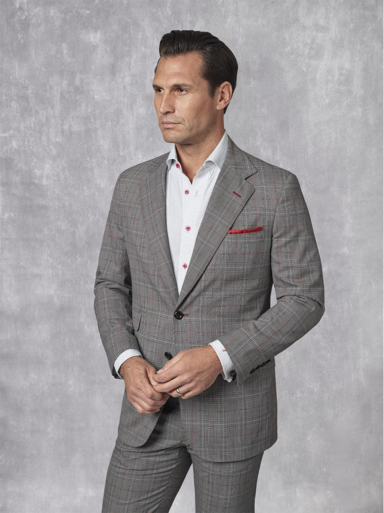 2020 Lookbook                                                                                                                                                                                                                                             , Super 130's Worsted Wool - Black, White & Red Windowpane Suit
