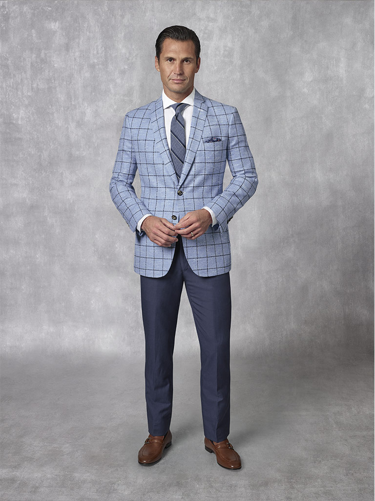 2020 Lookbook                                                                                                                                                                                                                                             , Holland & Sherry -Crystal Springs - Sky Blue Windowpane Sport Coat