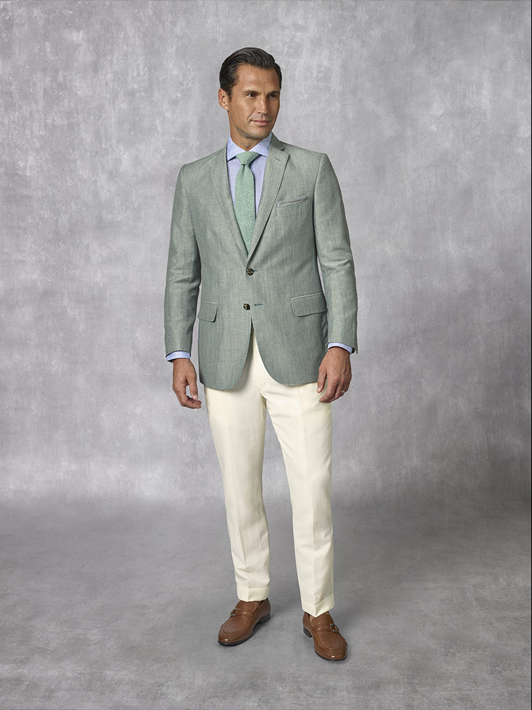 2020 Lookbook                                                                                                                                                                                                                                             , Holland & Sherry - South Pacific Linen Blend -Forest Green Plain Suit