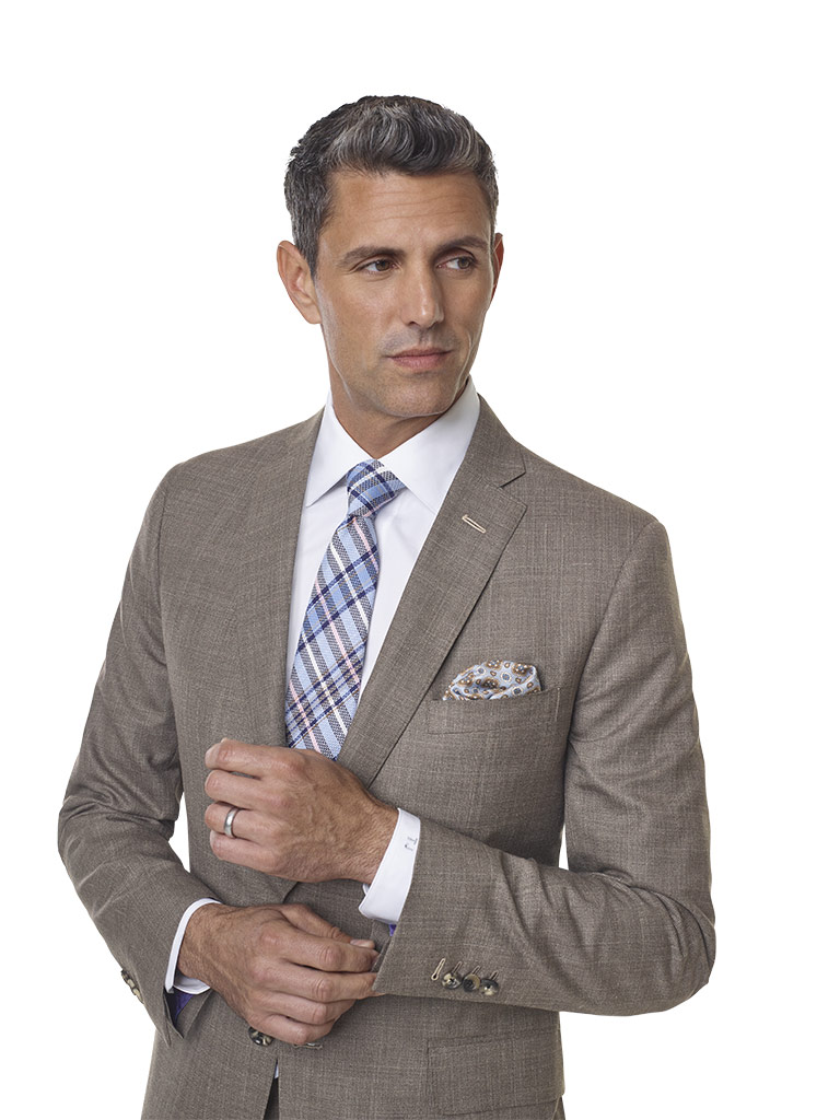2020 Lookbook                                                                                                                                                                                                                                             , Super 140's, Silk, Linen Blend - Taupe Fancy Windowpane Suit