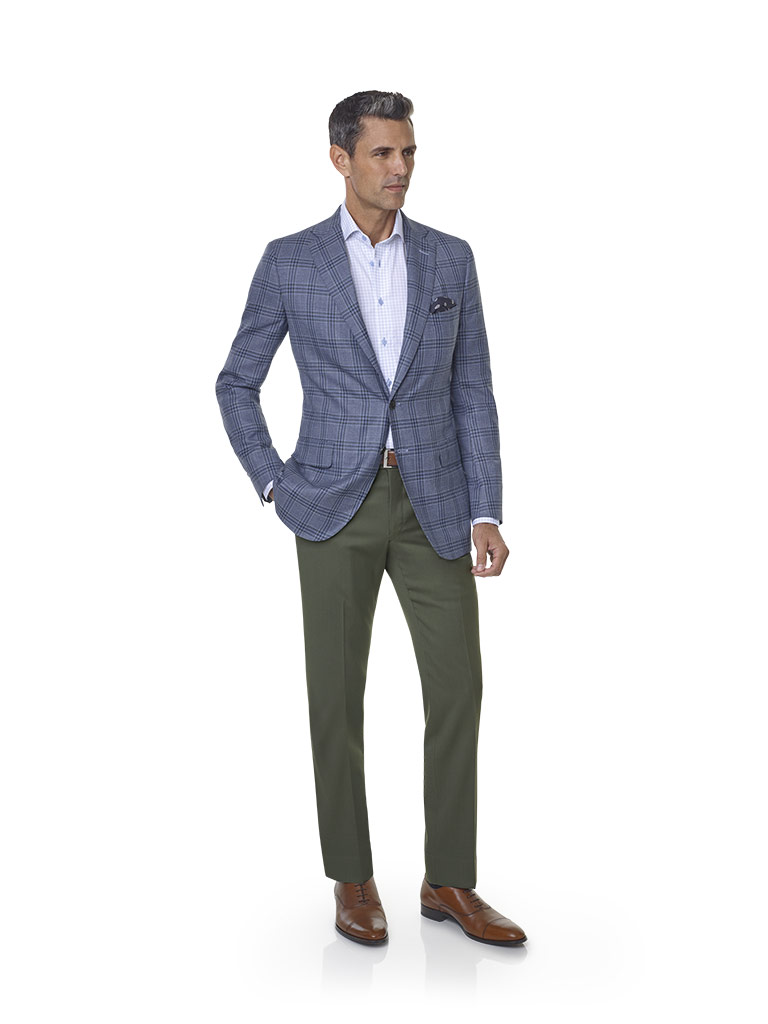 2020 Lookbook                                                                                                                                                                                                                                             , Super 140's Wool - Sage & Blue Windowpane Sport Coat