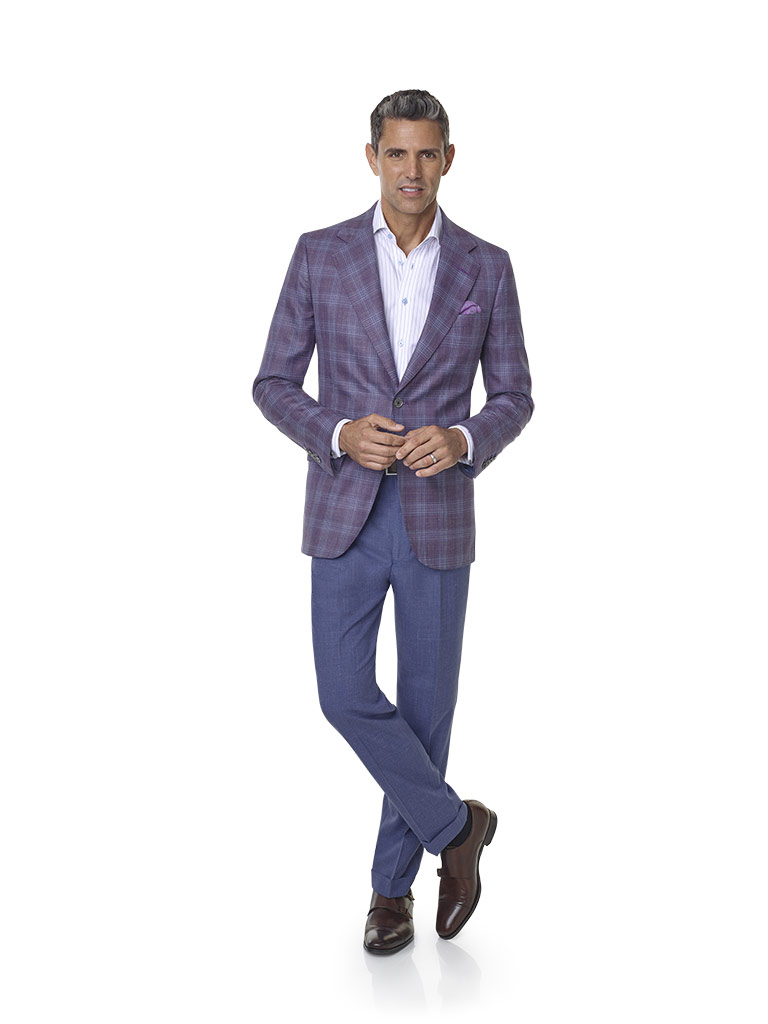 2020 Lookbook                                                                                                                                                                                                                                             , Wool, Silk, Linen Blend - Plum Plaid Sport Coat