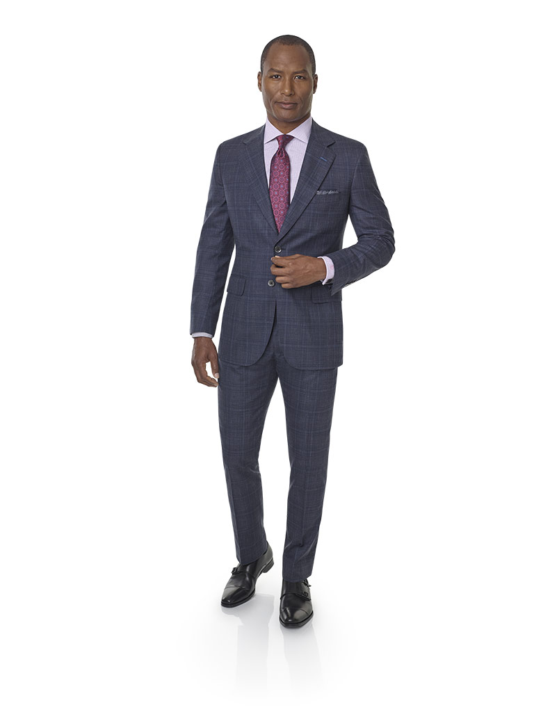 2020 Lookbook                                                                                                                                                                                                                                             , Super 140's, Silk, Linen Blend - Char Navy Plaid Suit