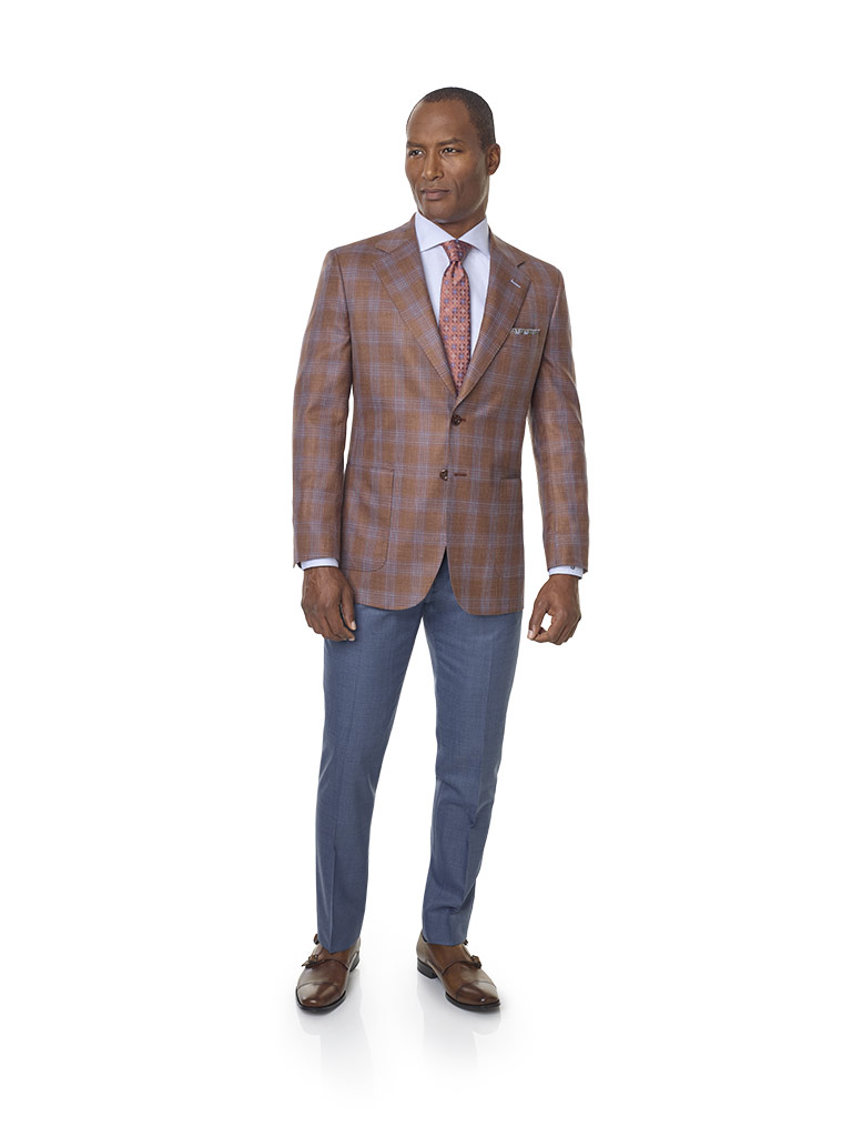 2020 Lookbook                                                                                                                                                                                                                                             , Wool, Silk, Linen Blend - Orange Plaid Sport Coat
