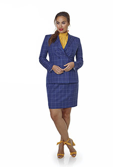 Women's Custom Clothing                                                                                                                                                                                                                                   , Super 100's Wool - Blue & White Windowpane Ladies Suit