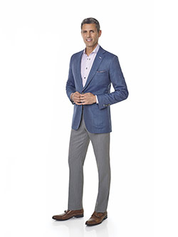 Custom Super 100's Wool - Heather Blue Herrinbone Men's Sport Coat