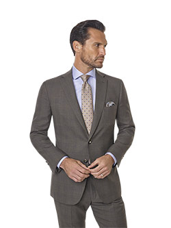 Custom Super 120's Wool - Taupe Brown Windowpane  Men's Suit