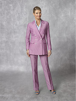 Women's Custom Clothing                                                                                                                                                                                                                                   , Holland & Sherry - South Pacific Linen Blend -Fuchsia Plain Suit
