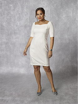 Women's Custom Clothing                                                                                                                                                                                                                                   , Holland & Sherry -Royal Mile Plains - Ivory Plain Dress