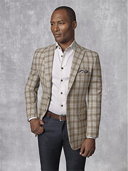 Custom Holland & Sherry -Summer Ascot - Sand Plaid Sport Coat