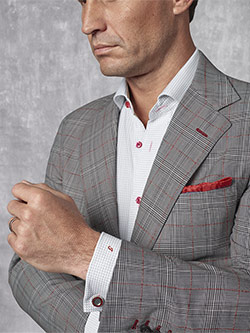 Custom Super 130's Worsted Wool - Black, White & Red Windowpane Suit