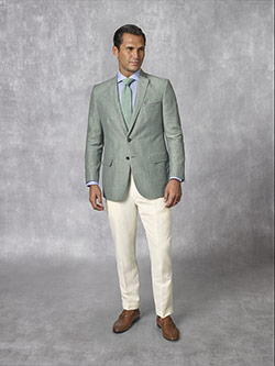 2020 Men's Lookbook                                                                                                                                                                                                                                       , Holland & Sherry - South Pacific Linen Blend -Forest Green Plain Suit