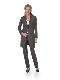 Women's Custom Clothing                                                                                                                                                                                                                                   , Super 140's, Silk, Linen Blend - Brown Windowpane Long Jacket