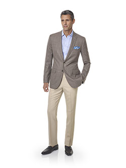 Custom Super 140's, Silk, Linen Blend - Taupe Fancy Windowpane Suit