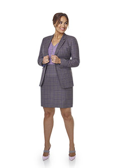 Women's Custom Clothing                                                                                                                                                                                                                                   , Super 140's Wool -Camel & Lilac Windowpane Suit