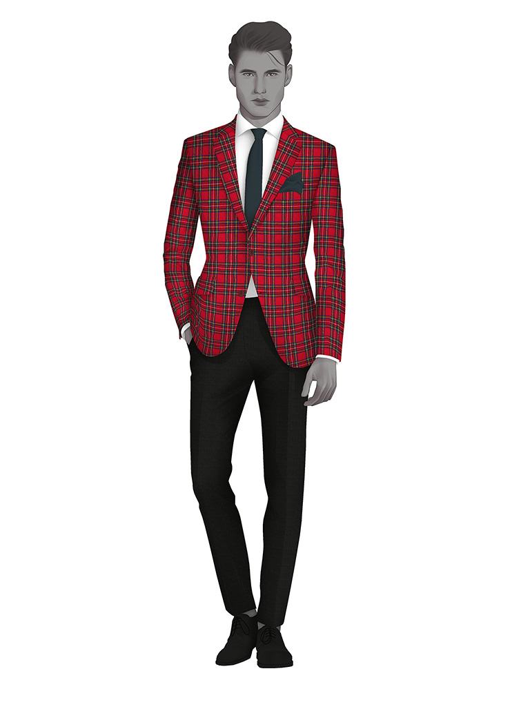 Red 100% Worsted Custom Suit Fabric