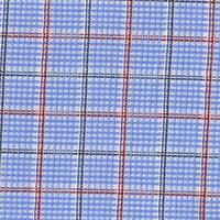 Blue Brdcloth Plaid Custom Shirt Fabric