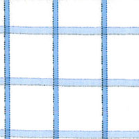 White W/Blue Check Custom Shirt Fabric