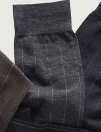 CHARCOAL Over-The-Calf Wool Stripe Socks