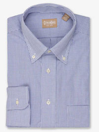 BLUE Graph Check Dress Shirt with Button Down Collar