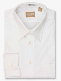 WHITE Solid Pinpoint Dress Shirt Point Collar
