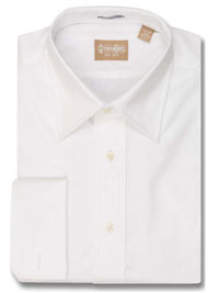 WHITE Solid Pinpoint Dress Shirt Medium Point Collar French Cuff