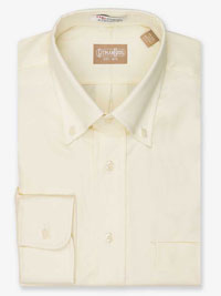 YELLOW Solid Pinpoint Dress Shirt Button Collar