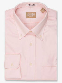 PINK Solid Pinpoint Dress Shirt Button Collar
