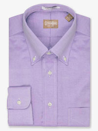 LAVENDER Solid Pinpoint Dress Shirt Button Collar