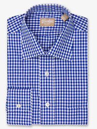 BLUE Gingham Check Dress Shirt with Medium Spread Collar