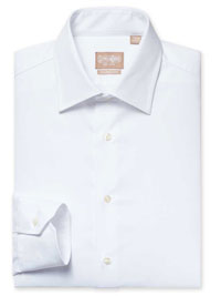 WHITE Solid Royal Twill Dress Shirt with Medium Spread Collar