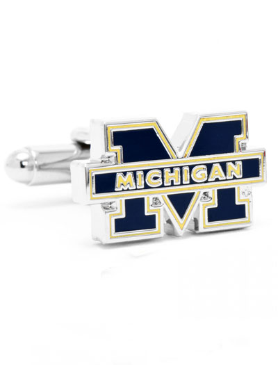 NCAA University of Michigan  Silver Cufflinks